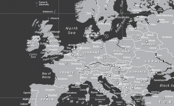 Canvas black and white World Map (UK free delivery)