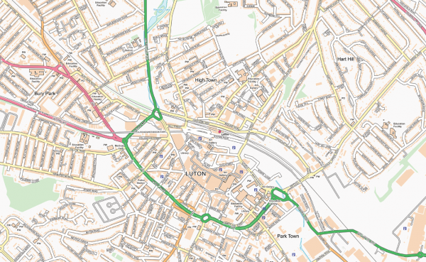 Luton and Dunstable Street map