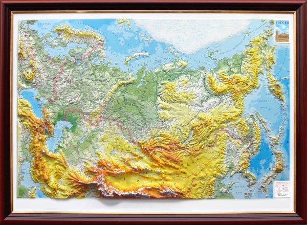 3D raised relief map of Russia and neighbouring countries