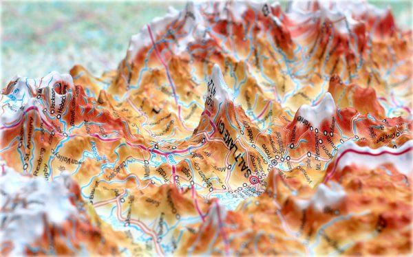 3D raised relief map of USA (Free delivery in the  UK)