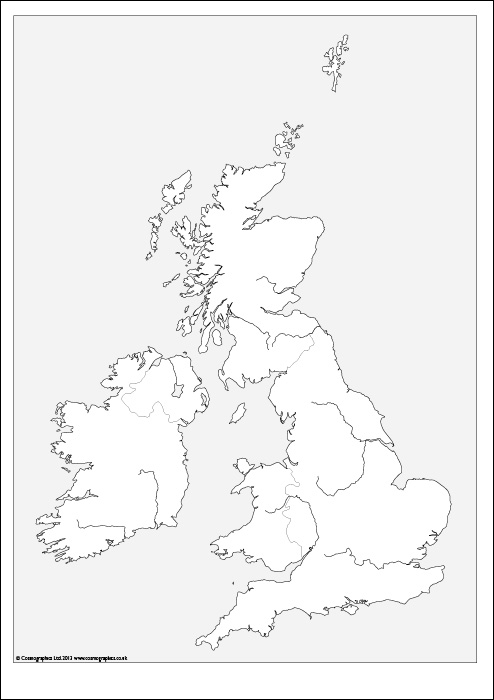 Free outline Map of the British Isles
