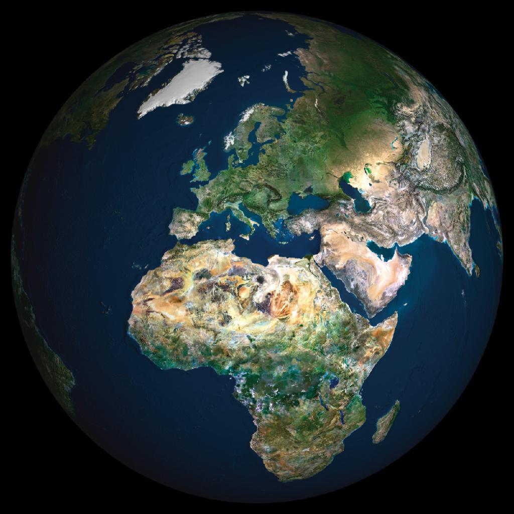 Satellite image of Europe and Africa globe
