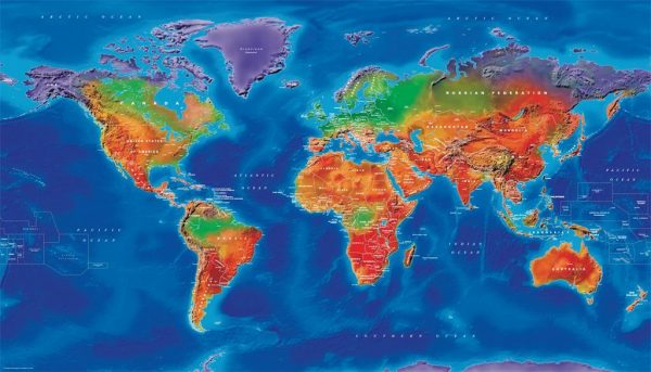 Canvas Artistic Political World Map - huge (UK free delivery)