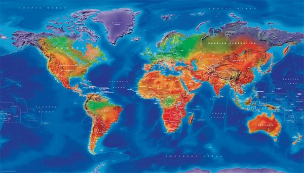 Canvas Artistic Political World Map - large (UK free delivery)