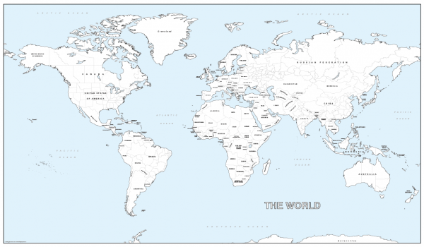 Big detailed world colouring map