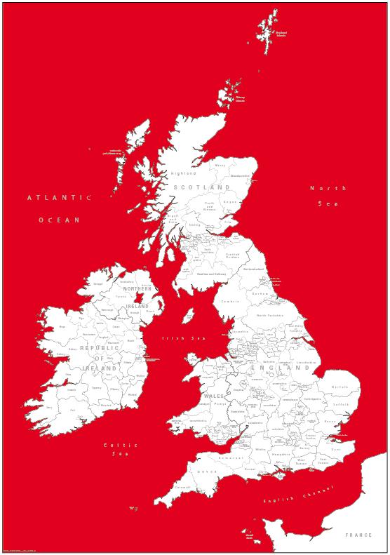 Retro British Isles counties Map