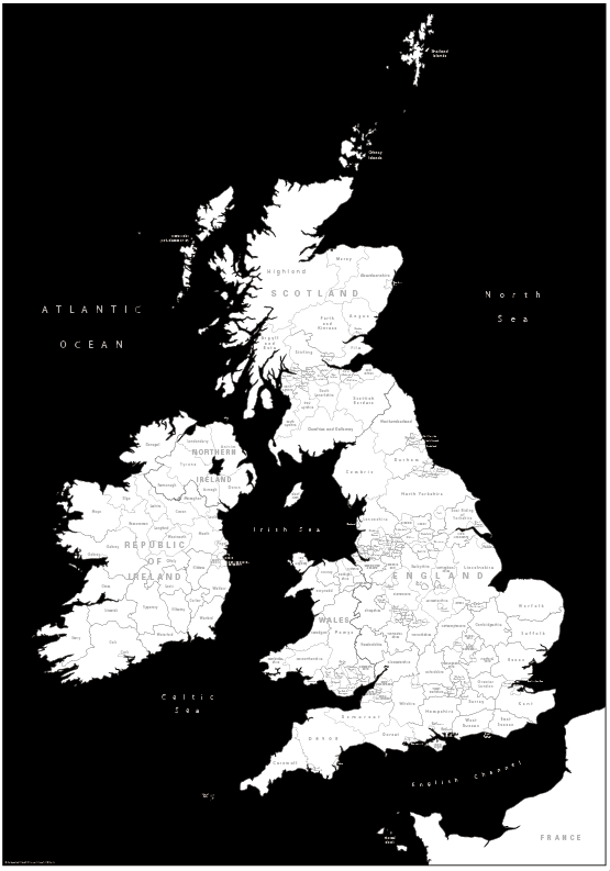 Canvas coloured British Isles counties Map (UK free delivery)