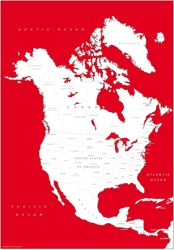 Canvas coloured North America Map (UK free delivery)