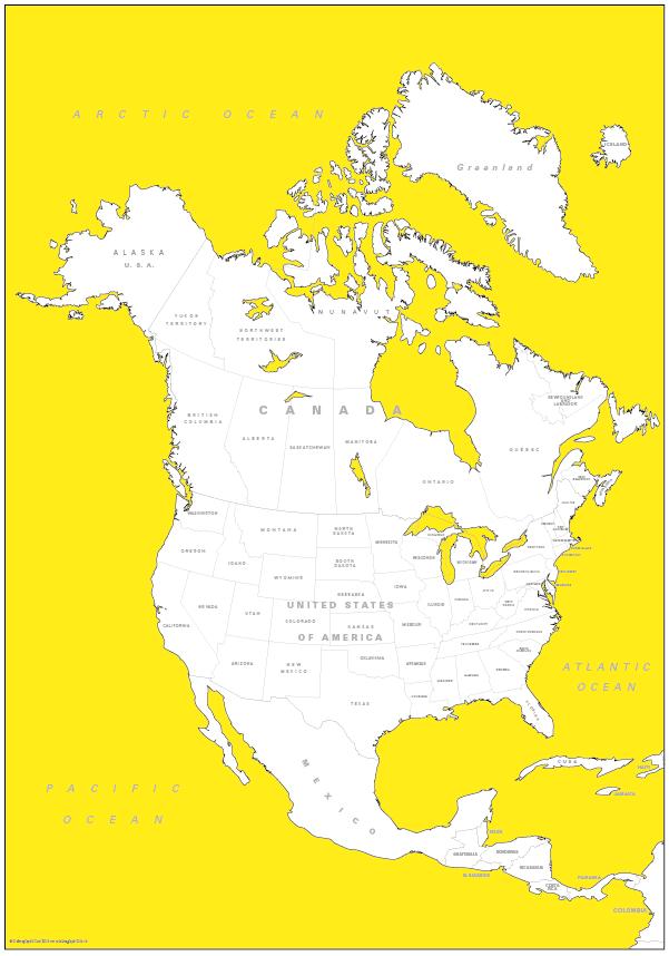 Retro North America Map