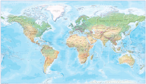 Canvas World map in natural colours - huge (UK free delivery)