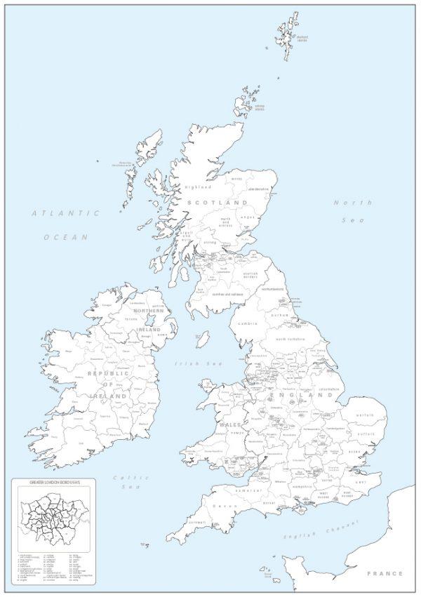 British Isles counties colouring map (self adhesive textile)