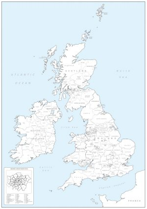 British Isles counties colouring map