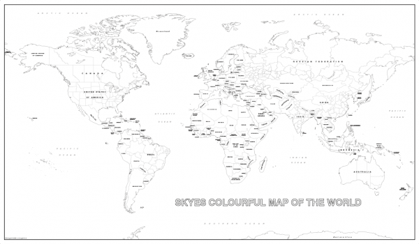 Big detailed personalised world colouring map