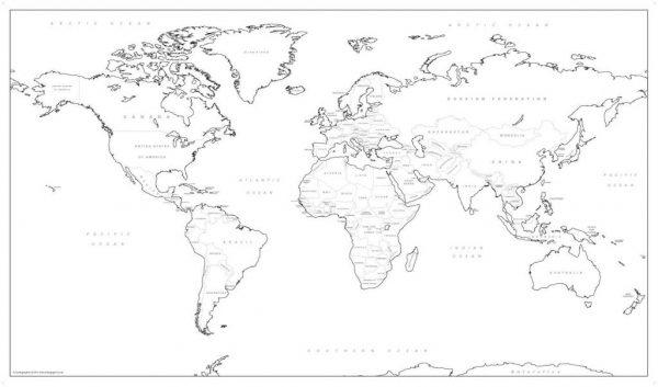 Big world colouring map (self adhesive textile)
