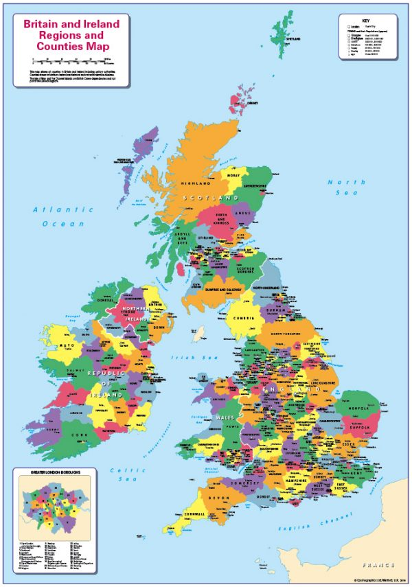 Britain and Ireland counties and regions map - small