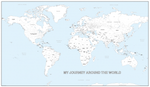 Giant detailed personalised world colouring map