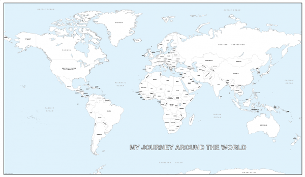 Giant personalised world colouring map