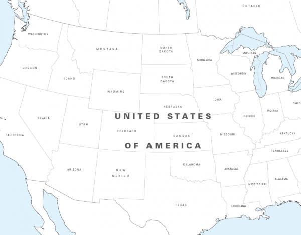 Big North America colouring map