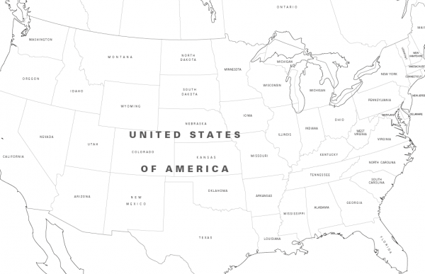 Large North America colouring map