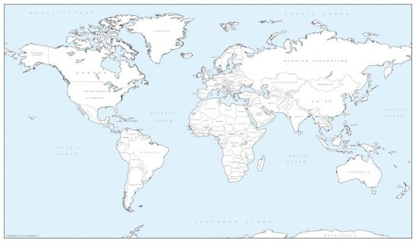 Large world colouring map (self adhesive textile)
