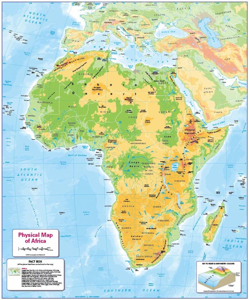 Physical map of Africa - small wall map