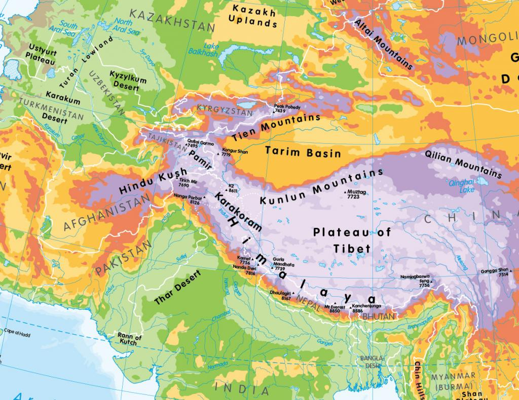 Physical map of Asia - small wall map
