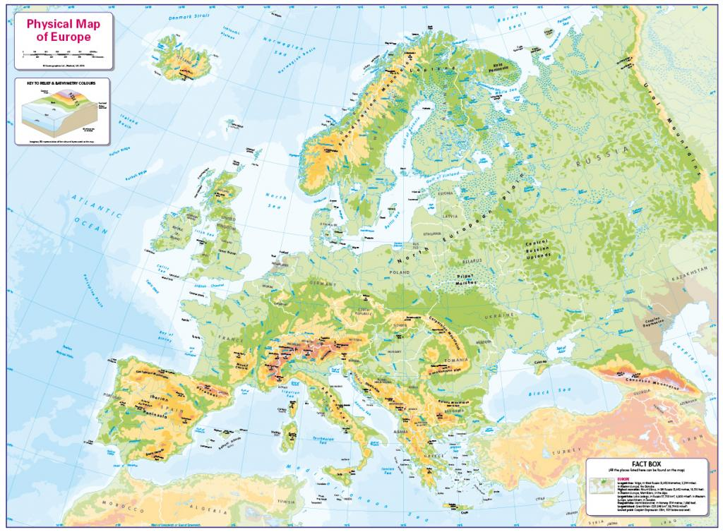 Physical map of Europe - small wall map