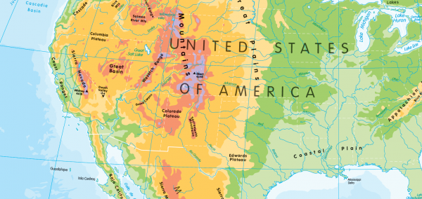 Children's physical map of North America