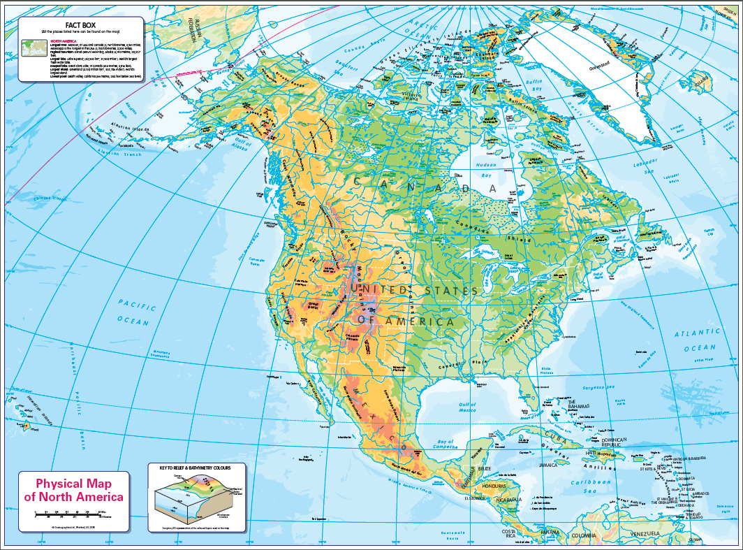 Physical map of North America - small wall map