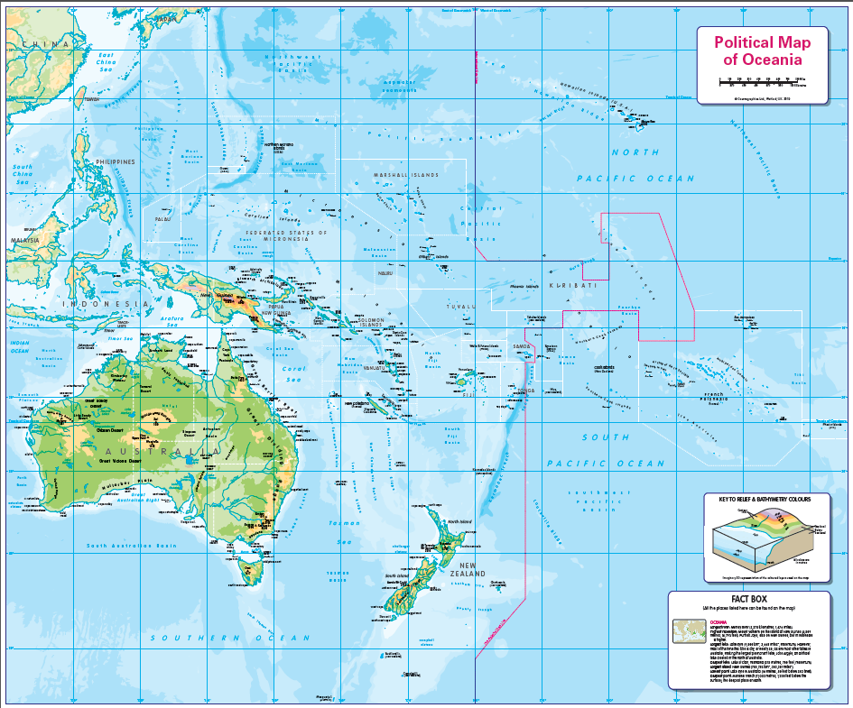Physical map of Oceania - small wall map