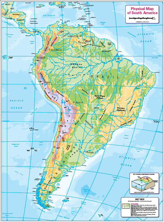 Children's physical map of South America