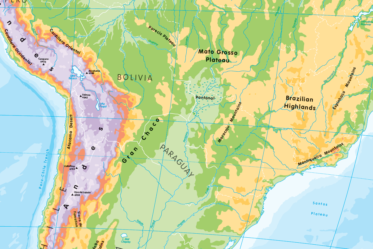 Physical map of South America - small wall map