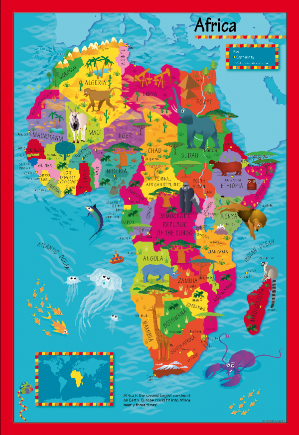 Children's Picture Africa Map - Large