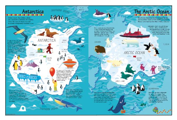 Children's Picture Arctic and Antarctic Map - Large