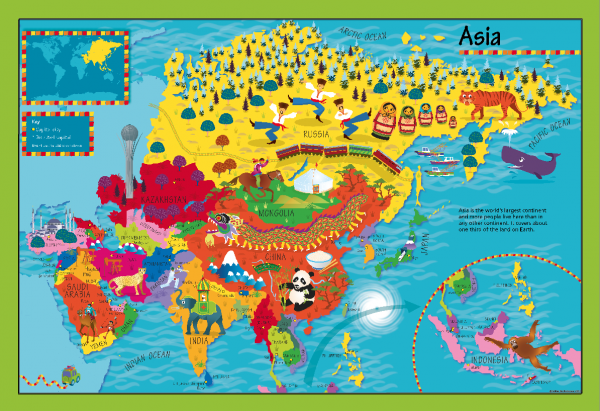 Children's Picture Asia Map - Large