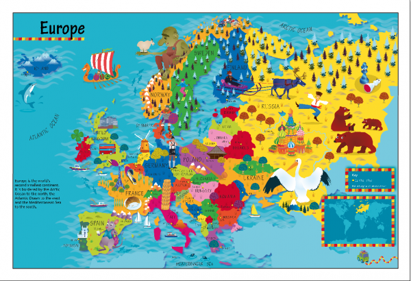 Children's Picture Europe Map - Large