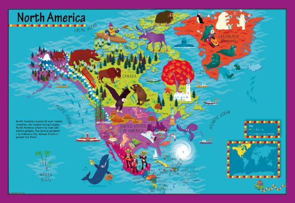 Children's Picture North America Map - Large