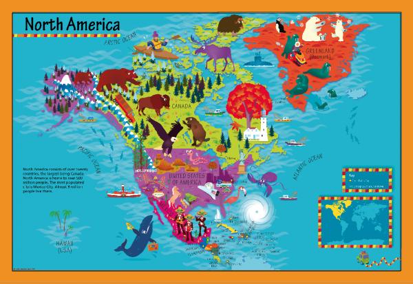 Children's North America Picture Map
