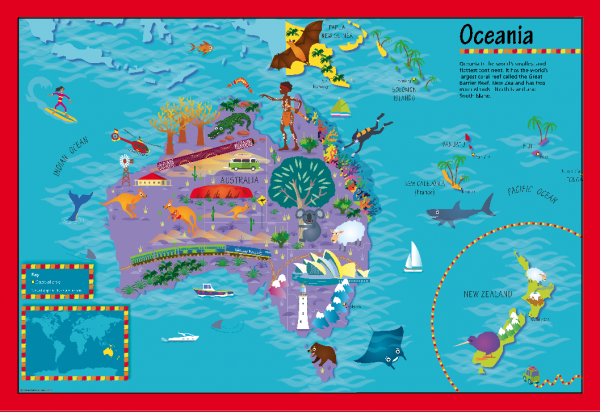 Children's Picture Oceania Map - Large