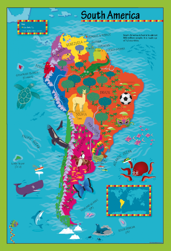 Children's Picture South America Map - Large