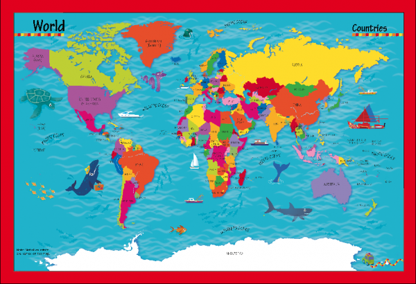 Children's Picture World Countries Map - Framed canvas
