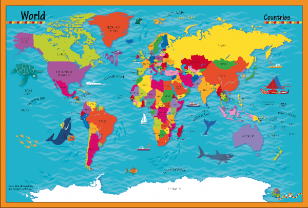 Children's Picture World Countries Map - Large Framed canvas