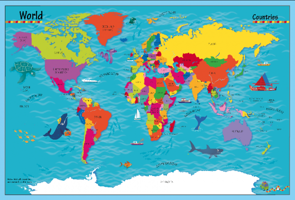 Children's Picture World Countries Map - Large