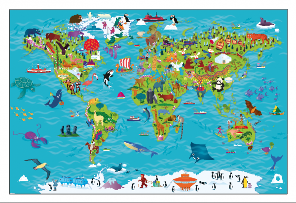 Children's Picture World Map - Framed canvas