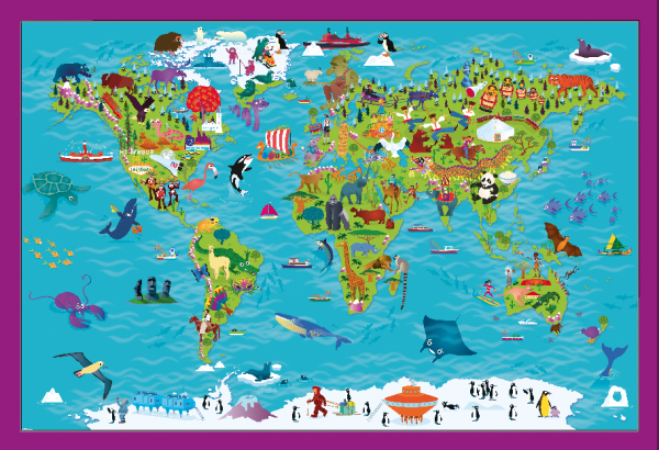 Children's Picture World Map - Large Framed canvas