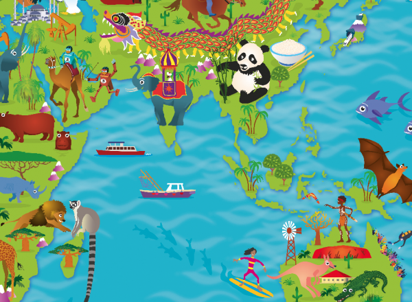 Children's World and Continent Picture Maps- set of 8 maps