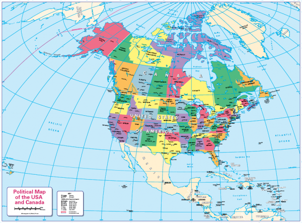 Children's political map of Canada and the USA