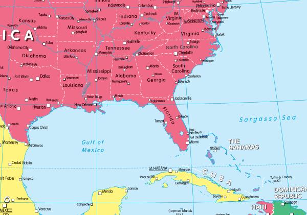 Children's political map of North America