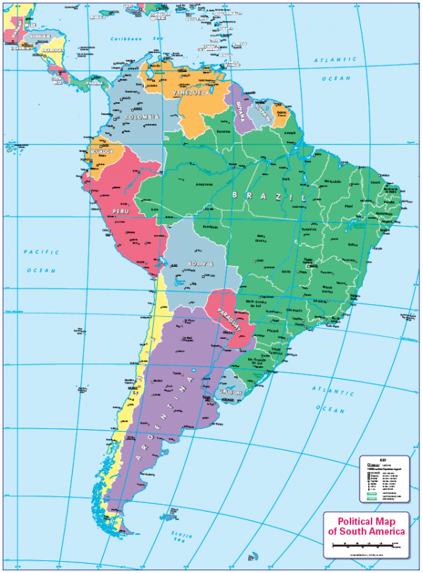 Children's political map of South America