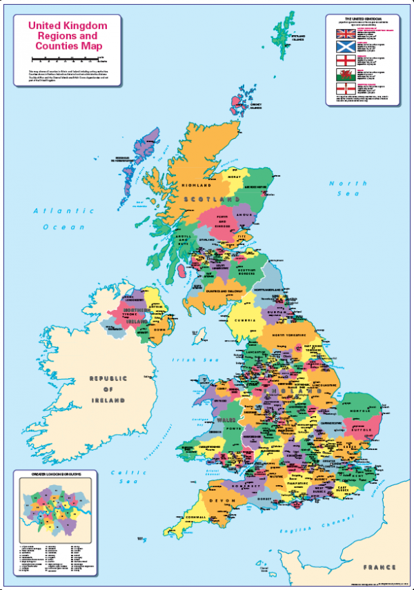 Children's United Kingdom counties and regions map
